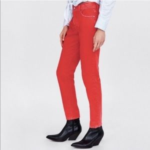 Zara Mom Fit Button Fly Distressed Coral Jeans